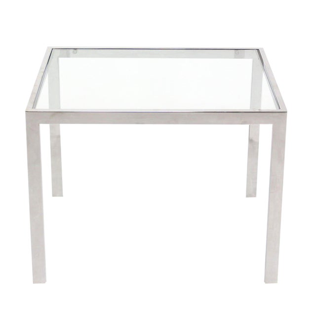 Chrome and Glass Mid-Century Modern Side Table For Sale