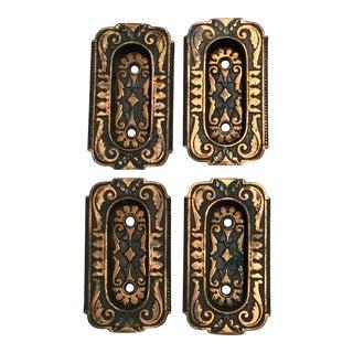 Antique Copper and Cast Iron Door Pulls - Set of 4 For Sale