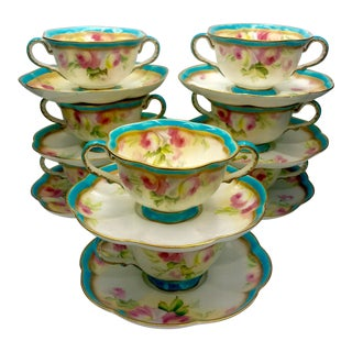 19th Century George Jones Crescent & Sons Two Handled Cups W/ Saucers - Set of 8 For Sale
