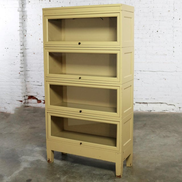 Industrial Barrister Stacking Bookcase Globe Wernicke Distressed Yellow Painted Wood For Sale - Image 13 of 13
