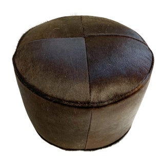 Black Cowhide Pouf Ottoman For Sale