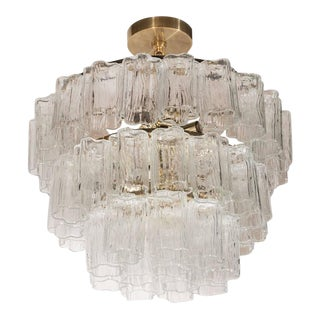 Mid-Century Modernist Three-Tier Murano Tronchi Chandelier with Brass Fittings