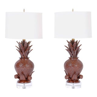 Pineapple Pottery Table Lamps - A Pair For Sale