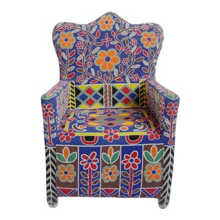 Yoruba Nigerian Beaded Arm Chair For Sale