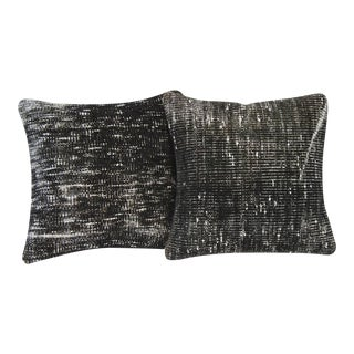 Black Handmade Overdyed Pillow Covers - Pair For Sale