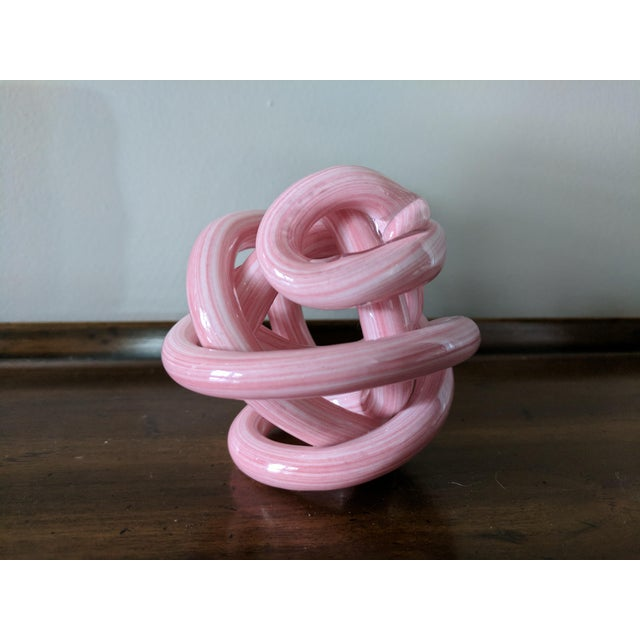 Pink Blown Glass Twisted Knot Sculpture For Sale - Image 9 of 12