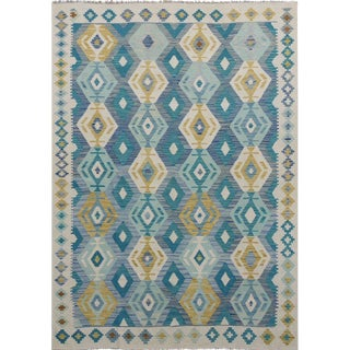 "Modern Pakistani Blue Multicolor Wool Reversible Kilim Rug- 5'7"" X 7'8"" For Sale"