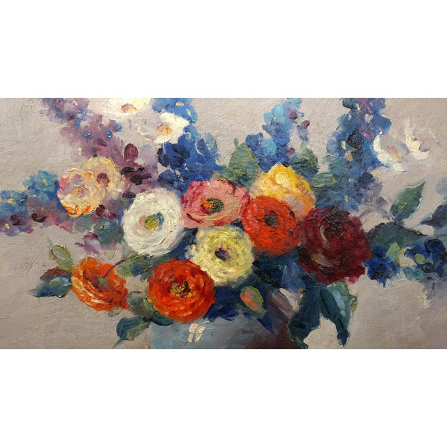 Nell Walker Warner- Large Floral Still Life -Beautiful Oil painting -Impressionist c1920s For Sale - Image 4 of 10