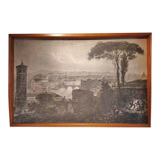 Photocopy of Original Landscape of Rome in a Custom Wood Frame by Italian Artist Fornasetti, Circa 1940