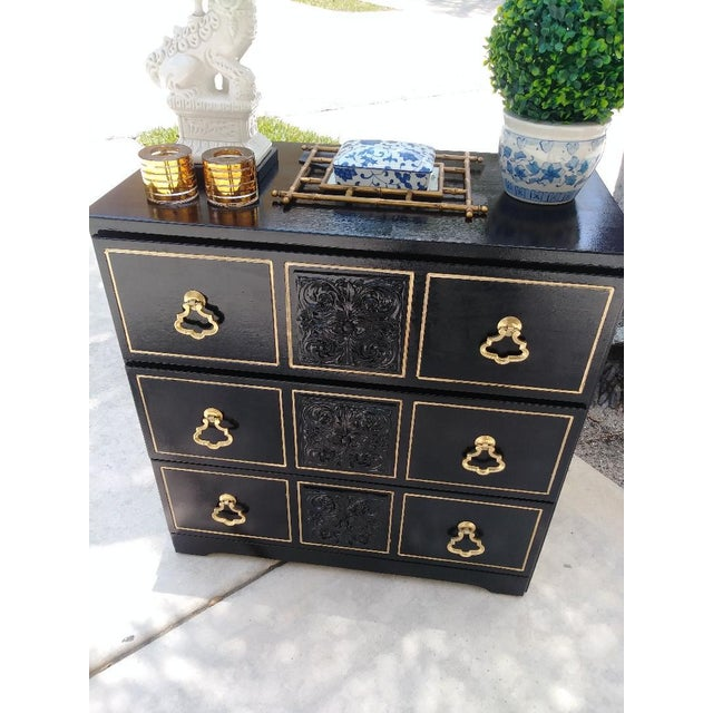 This is a gorgeous Dorothy Draper inspired 3 drawer small chest dresser. It has been repainted in high gloss black with...