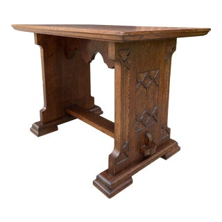 Antique French Gothic Revival Trestle Bench For Sale