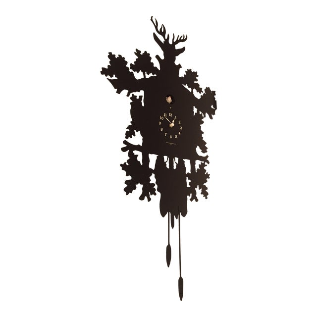 Diamantini & Domeniconi Black Cucù Clock With Bird   Chairish