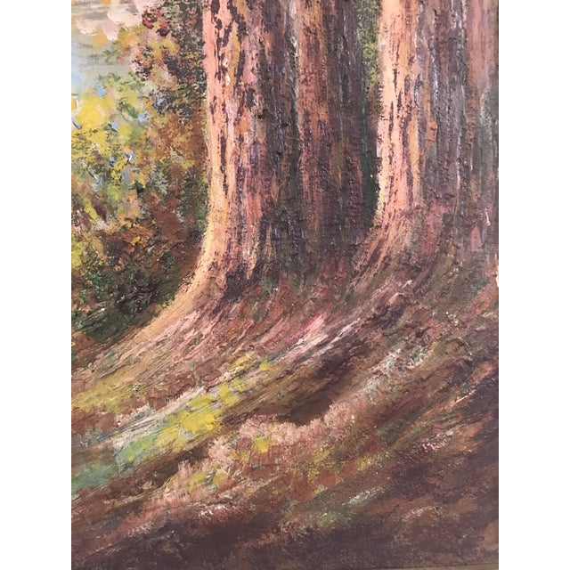 "Blue 1927 ""California Redwoods on the Riverbank"" Landscape Painting For Sale - Image 8 of 12"