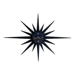 Mid Century Black Brass Starburst Wall Clock For Sale