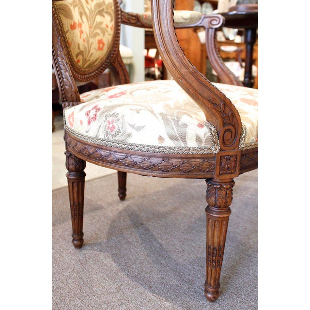 French Louis XVI Style Neoclassical Carved Armchairs - a Pair For Sale - Image 3 of 10