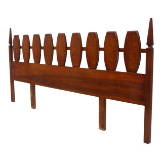 Mid Century Modern Walnut King Size Burlwood Headboard 102 Inches Long For Sale