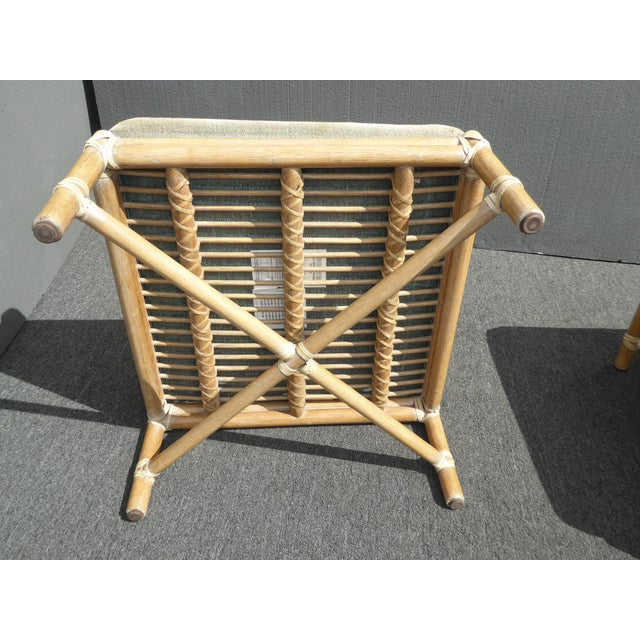 1950s Pair Vintage Mid-Century Modern McGuire Furniture Bamboo Rattan Sage Ottomans For Sale - Image 5 of 11