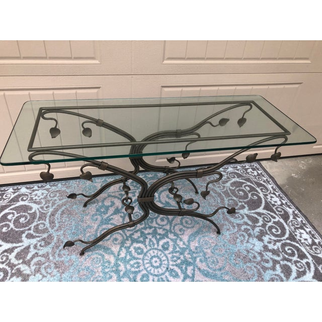 Arts & Crafts Arts and Crafts Glass Top Iron Console Table For Sale - Image 3 of 9