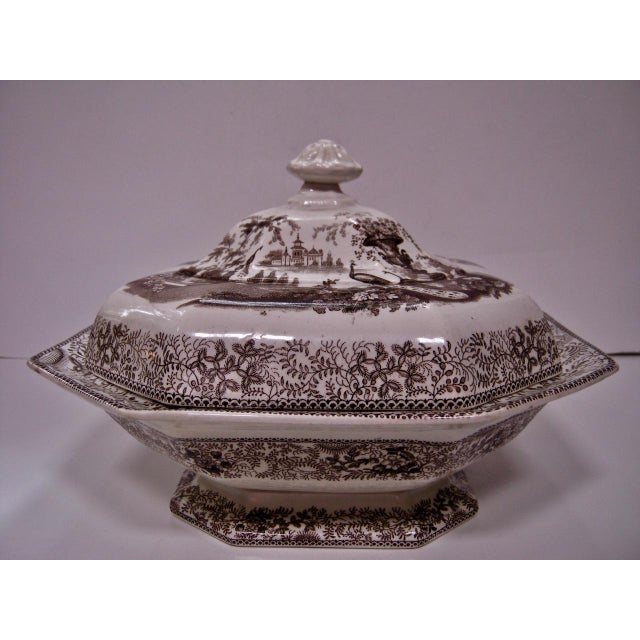 Off-white Antique Brown & White Transfer Staffordshire Covered Vegetable For Sale - Image 8 of 8