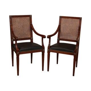 Lovato Luigi Italian Regency Style Pair Cane Back Armchairs (A) For Sale