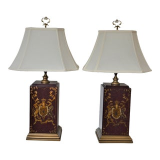 Mid 20th Century Square Basely Painted Wooden Table Lamps - a Pair For Sale