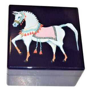 Navy Lacquered Horse Trinket Box For Sale