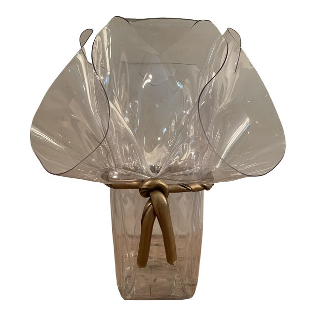 1970s Handkerchief Lucite Planter Vase With Gilt Bow For Sale