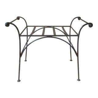 Regency Cerule Iron Bench Ottoman Stool For Sale