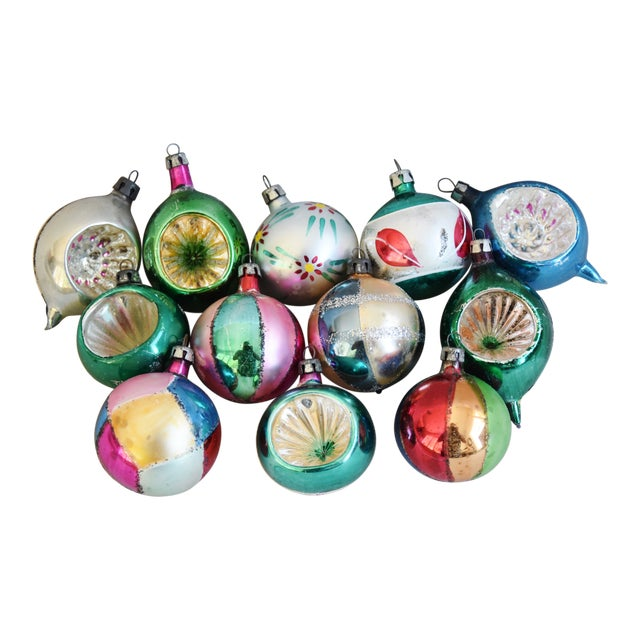 Fancy Midcentury Vintage Colorful Christmas Tree Ornaments W/Box - Set of 12 For Sale