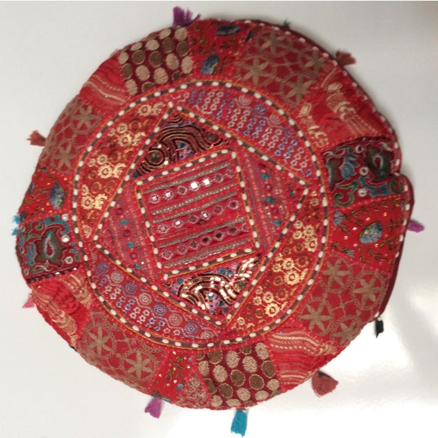 Vintage Moroccan Embroidered Pouf Pillow - Image 2 of 3