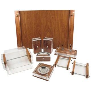 Ritts Co, La Mid-Century Modern Lucite and Oak Astrolite Desk Set For Sale