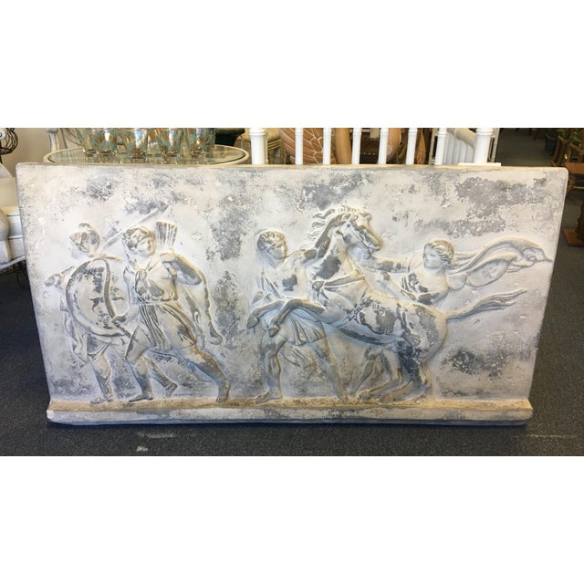 19th Century Greek Roman Frieze Stele Wall Plaque. Carved stone image depicts Romans lassoing a wild horse. Embedded back...