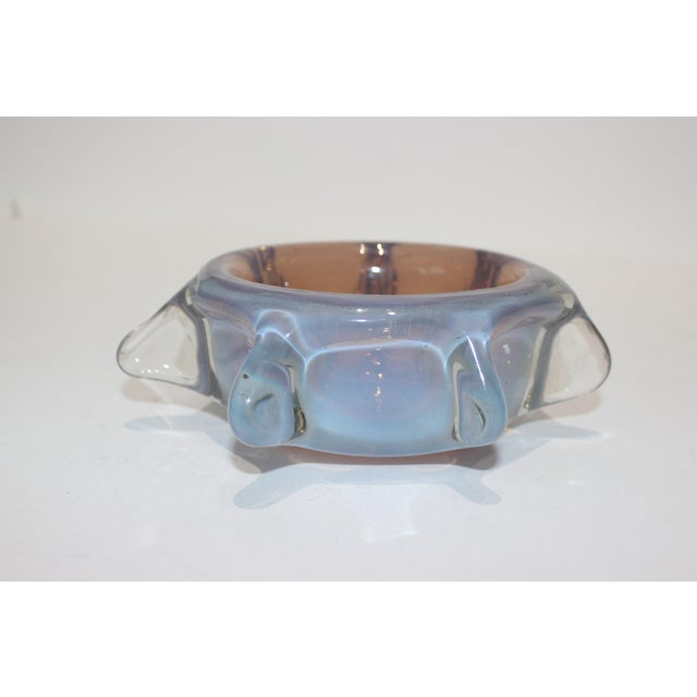 Italian Murano Opaline Pinched Glass Bowl in Blue and Amber Tones Mid-Century Modern Italian 1960s For Sale - Image 3 of 10