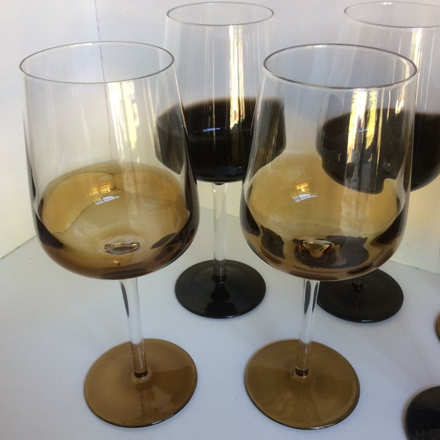 Mid-Century Modern Style Reverse Ombré Black & Amber Brown Wine Glasses - Set of 6 For Sale - Image 11 of 13