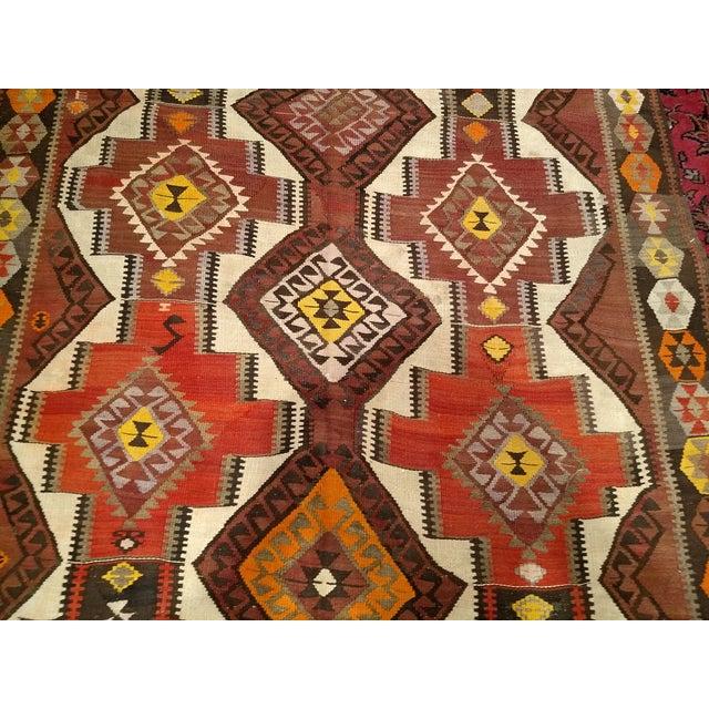 Brown 1940s Vintage Kurdish Kilim Rug - 5′ × 14′2″ For Sale - Image 8 of 12