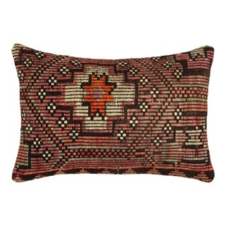 "Muted Rose Kilim Lumbar Pillow | 16"" X 24"" For Sale"