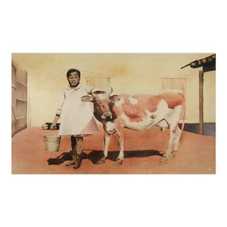 Watercolour Painting of Girl With Milk Cow For Sale