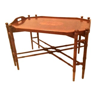 1960s Traditional Mahogany Tray Table Top Coffee Table For Sale