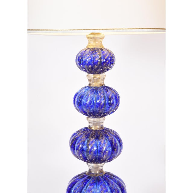 Cobalt Blue With Gold Flecks Murano Glass Table Lamps - a Pair For Sale In New York - Image 6 of 10