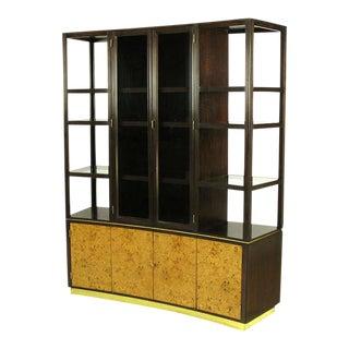 Edward Wormley Walnut & Olive Ash Burl Tall Cabinet for Dunbar For Sale