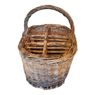 Large Antique French Wine Country Estate Wicker & Wood Six Bottle Carrier Basket For Sale