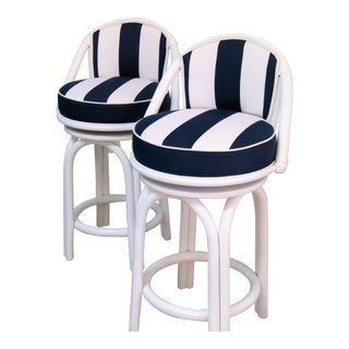 1980s Vintage Contemporary Bar Stools- a Pair For Sale
