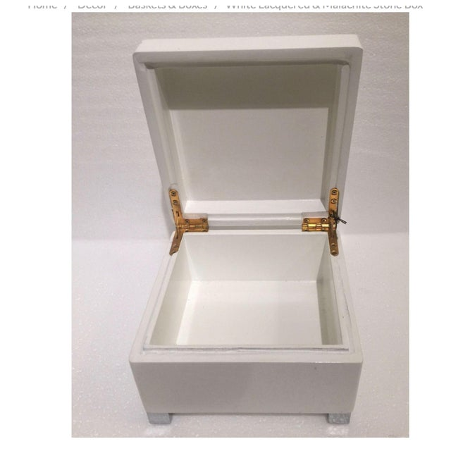 White Lacquered & Malachite Stone Box - Image 3 of 4