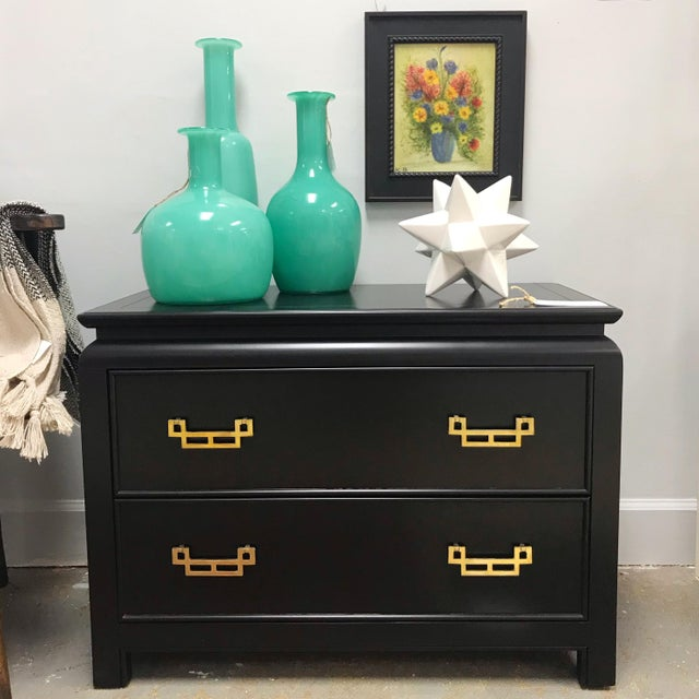 This Century Furniture Chin Hua nightstand / dresser has been updated in a matte black lacquer. Original and refurbished...