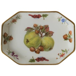 English Porcelain Octagonal Trinket or Jewelry Dish With Fruit and Gold Design For Sale