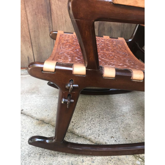 Wood Mid Century Angel Pazmino Sculptural Rosewood Rocking Chair For Sale - Image 7 of 10