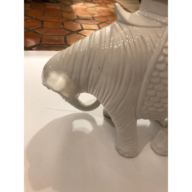 Ceramic 1980s Vintage Blanc De Chine White Ceramic Elephant Table Lamp For Sale - Image 7 of 11