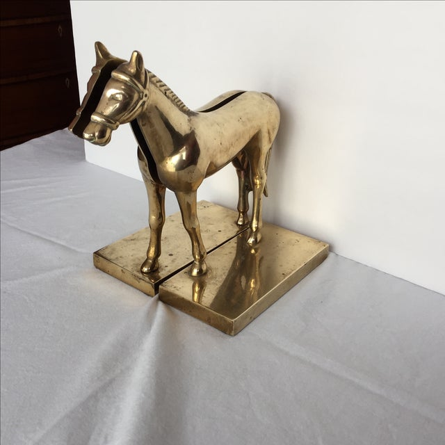1970s Brass Split Horse Bookends - A Pair For Sale - Image 5 of 10