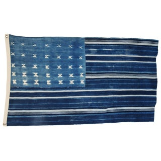 "Custom Indigo Blue & White Flag Created From African Textiles 57"" X 34"""