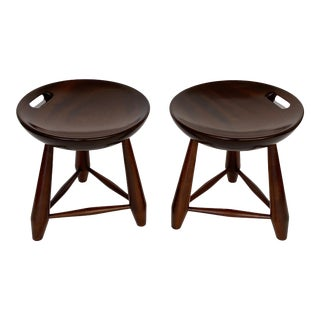 Pair of Sergio Rodrigues Mocho Stools in Brazilian Jacarandá For Sale